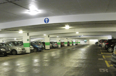 refurbished interior of Duke St multi-storey car park in Hamilton
