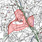 map of planned development area at Poniel / Happenden wood