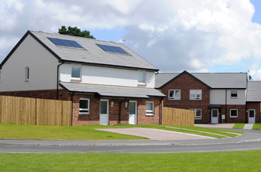 new-build houses with solar panels