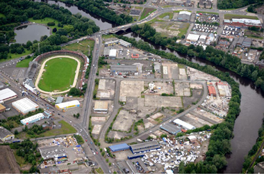 aerial view of Shawfield area of Glasgow before development by Clyde Gateway programme