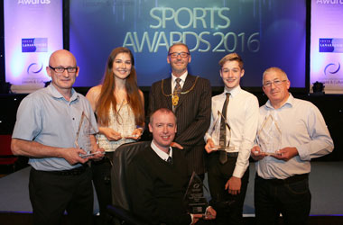 Winners with Provost Ian McAllan - Pamela Clark was unable to attend - her award was accepted by her father Robert