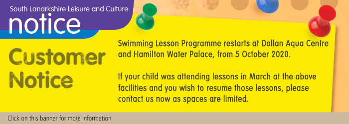 Group Swimming Lessons Restart at Dollan Aqua Centre and Hamilton Water Palace 5 October 2020