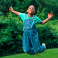 child leaping in the air