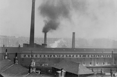 black and white image of Caledonian Pottery factory in Rutherglen