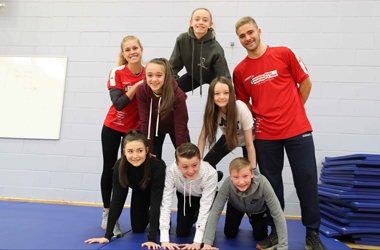 Pupils from St Andrew's and St Bride's High, Strathaven Academy, Calderglen High and Duncanrig Secondary with the Danish performance team's Mette Berthelsen Nielsen and Joakim Vilhemsen