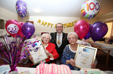 Provost Ian McAllan joins neighbours Betty Morton and Betty Smith at their 100th birthdays in a special joint event at Lochbrae Court sheltered housing complex