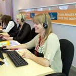 helpline staff answering call about exam results