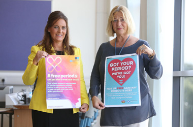 Depute Provost Councillor Collette Stevenson with Linda Fabiani MSP at the launch of the free sanitary products