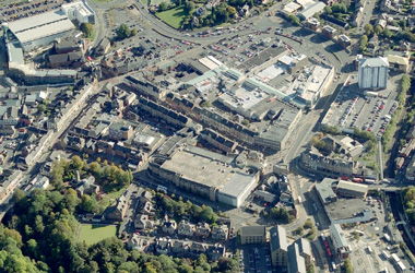 aerial view of Hamilton town centre