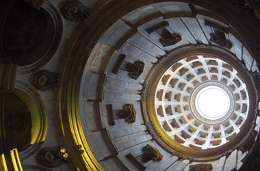 looking up at dome inside Hamilton Mausoleum
