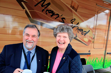 Councillor Jim McGuigan and Chair of Seniors Together, Helen Biggins, at a recent open day for the shed