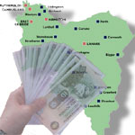 map of South Lanarkshire with fan of bank notes superimposed