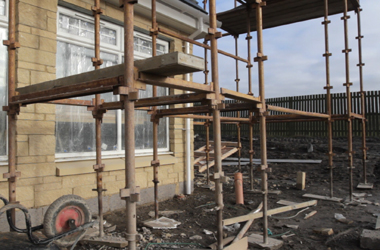 general image of building site with scaffolding