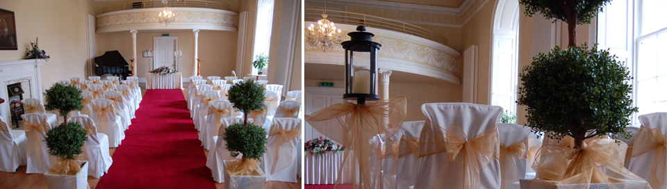 Image showing Weddings at Low Parks Museum showing the interior of the Assembly Room with a close up showing how the room is setup for weddings